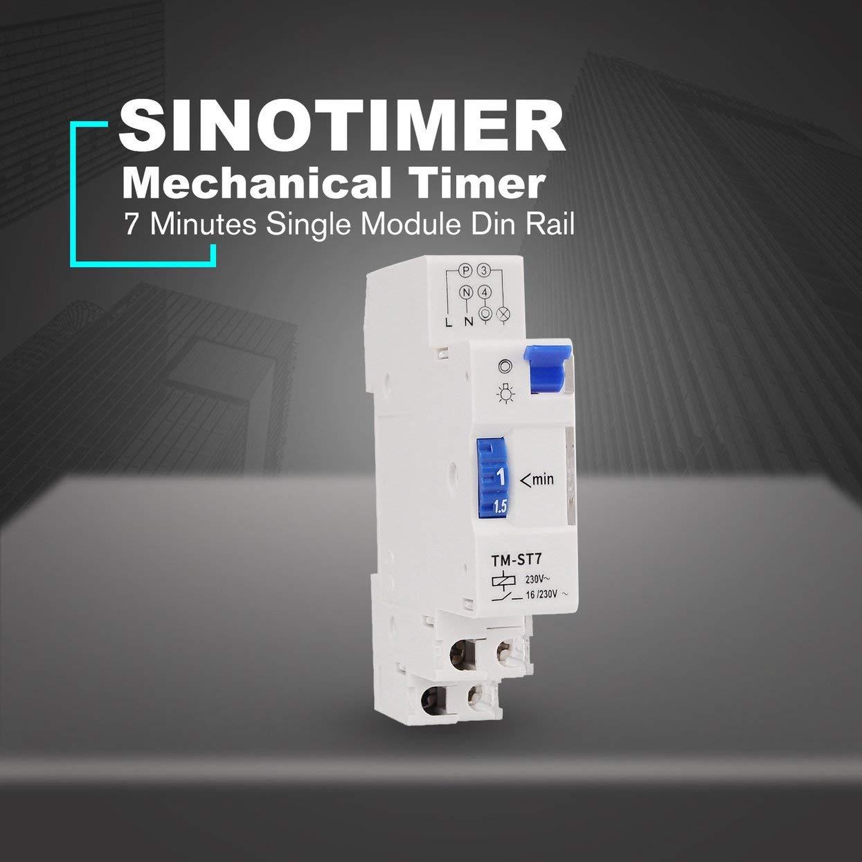 Dynamovolition SINOTIMER TM-ST7 220V 7 Minutos Temporizador mec/ánico 18mm M/ódulo /único Temporizador de Escalera en Carril DIN Instrumentos de Interruptor de Tiempo