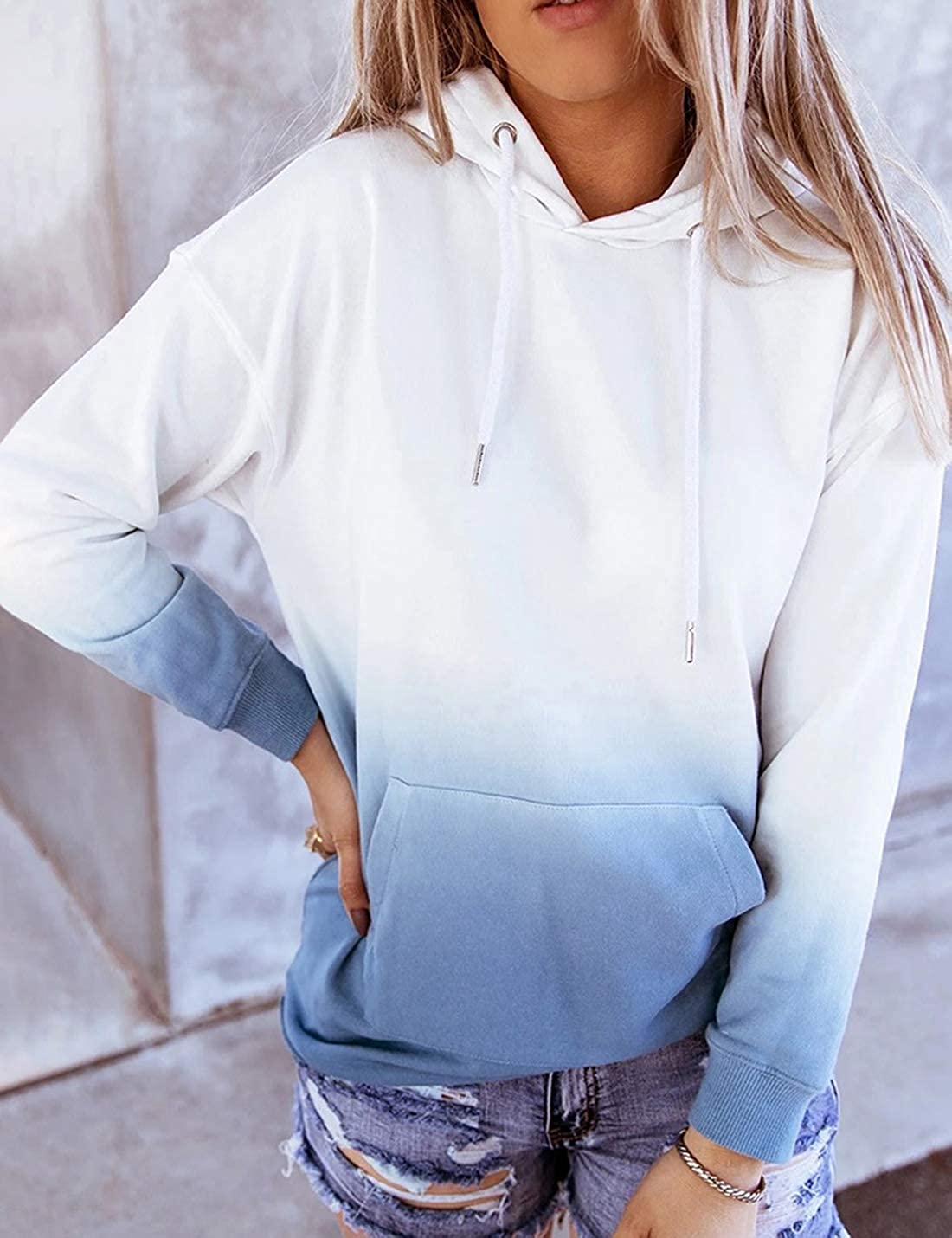 Elapsy Womens Casual Tie Dye Printed Hoodies Drawstring Loose Fit Crop Tops Pullover Sweatshirt Pockets
