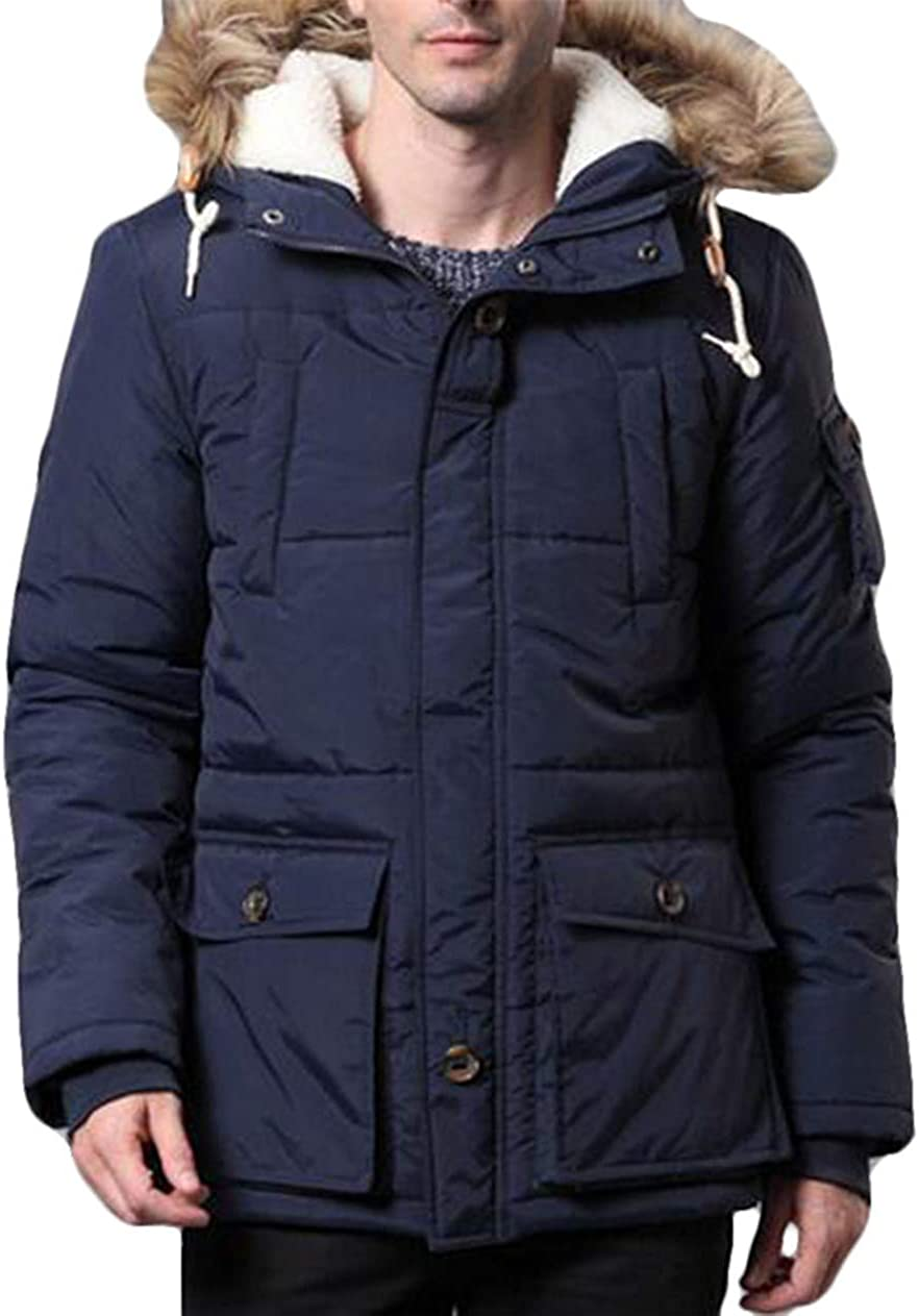 Hurrg Mens Faux Fur Collar Quilted Padded Hooded Winter Thicken Down Puffer Jacket