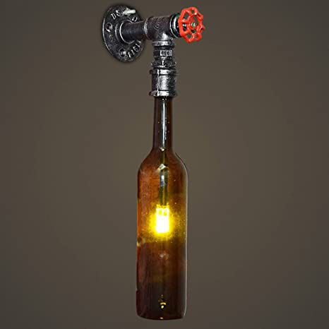 YLLXX Nueva Botella De Cristal De Vino De Estilo Industrial Retro Botella De Pared Bar Cafe