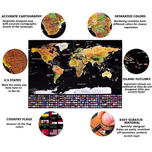 Scratch off world map with ebook detailed cartographic poster scratch off world map with ebook detailed cartographic poster glossy finish easy to scratch wall hang decorate home make the best gift to a gumiabroncs Choice Image