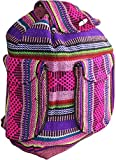 Tribal Design Backpack School Bags Made in Mexico (Choose Your Color) (3 External Pockets, Fuchsia Multicolor)