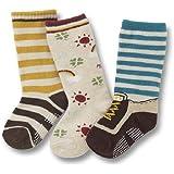 Baby Toddlers Kids Boys 3-pack STRIPE SUNNY BASEBALL SOCKS SET F (AGE 1 2 3 4 5 6 7)