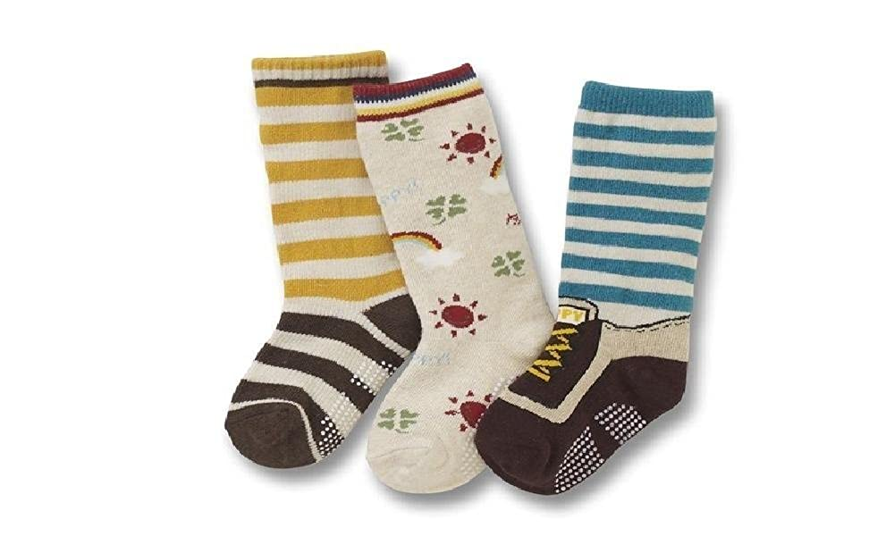 Boys Kids Socks Pack of 3 Anti Slip Stripe Age 3 4 5 - Set F