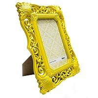 Porta Retrato Vintage Amarelo 10X15CM Glamour Vidro 2mm