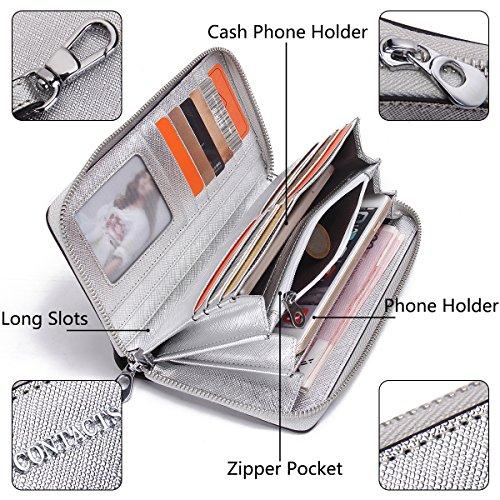 Contacts Echtes Leder-Frauen-Karten-Münzen-Halter-Kupplungs-Geldbeutel-Reißverschluss-langes Mappen-Silber