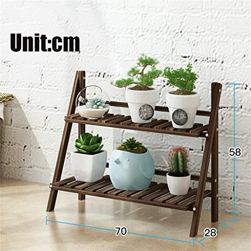 2 Tier Foldable Wooden Flower Display Rack, Indoor Flower Stand, Multifunction Retro Plant Stairs for Garden/Indoor/Outdoor/Balcony Flower Shelves (Color : Brown, Size : 70x28x58cm)
