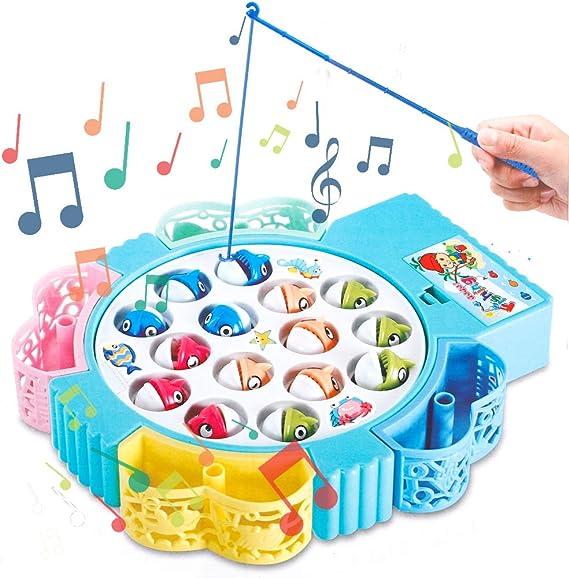 HCHENG Juego de Pesca de Mesa Juguete Musical Educativo Peces Rotativos Coloridos Juguetes Eléctricos para Niños Niñas 3 4 5 Años: Amazon.es: Juguetes y juegos