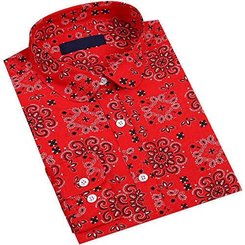 DOKKIA Women's Tops Vintage Casual Shirts Cotton Long Sleeve Work Button Up Dress Blouses (Paisley Red Black, XX-Large)