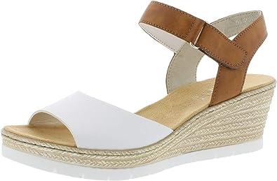 Rieker 61953 Femme Sandales compensées,Chaussures d'été,Confortable,Plat