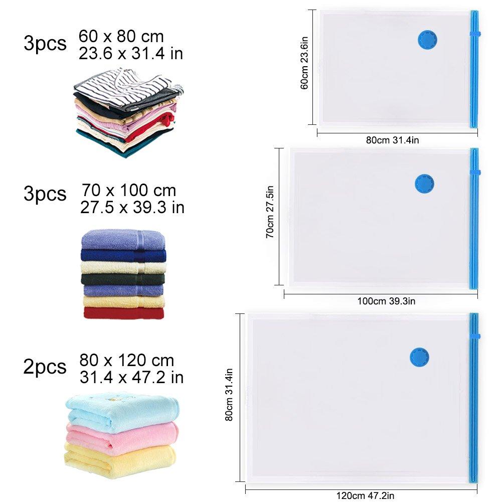 3 Verschiedene Gr/ö/ßen Beutel Vakuum f/ür die Reise oder zur platzsparenden und staubfreien Aufbewahrung von Kleidungsst/ücken 8-teiliges Sparset