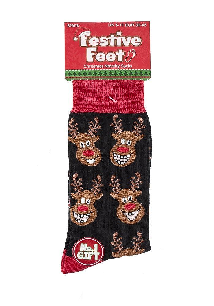 Mens Novelty Christmas Multi Snowmen Socks 6-11uk 39-45 eur Red Blue