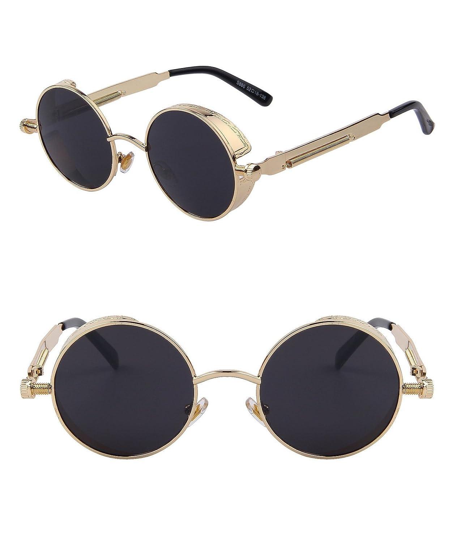 270e13da58c Ronsou Steampunk Style Round Vintage Polarized Sunglasses Retro Eyewear  UV400 Protection Matel Frame AM G1020-1 larger image