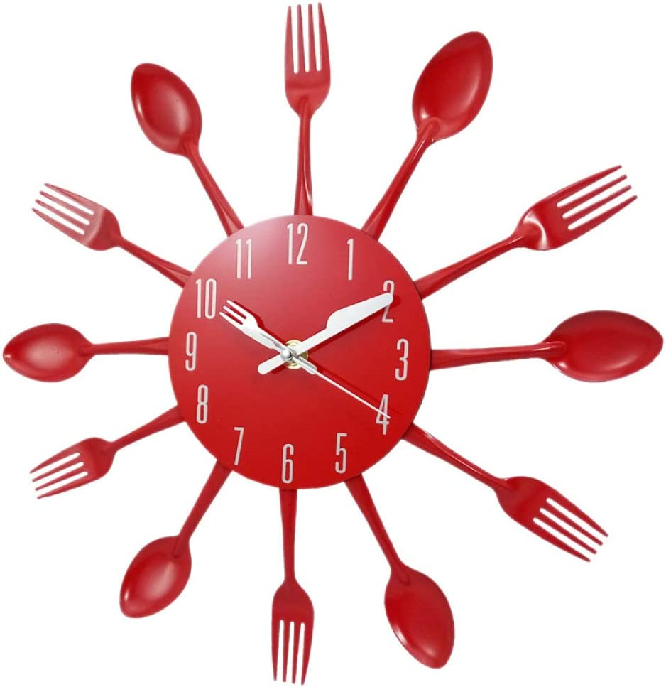 N /A Wall Clock Home Decorations Noiseless Stainless Steel Cutlery Clocks Knife and Fork Spoon Wall Clock Kitchen Restaurant Home Decor Red