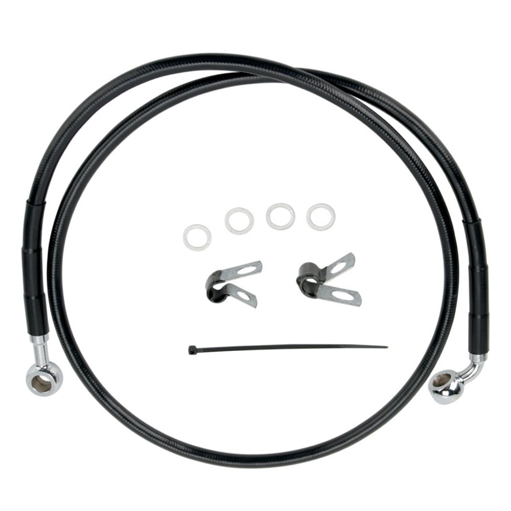 Hill Country Customs Front Black Vinyl Coated Stock Length Brake Line for 2004-2010 Harley-Davidson Sportster XL883 models - HC-401114