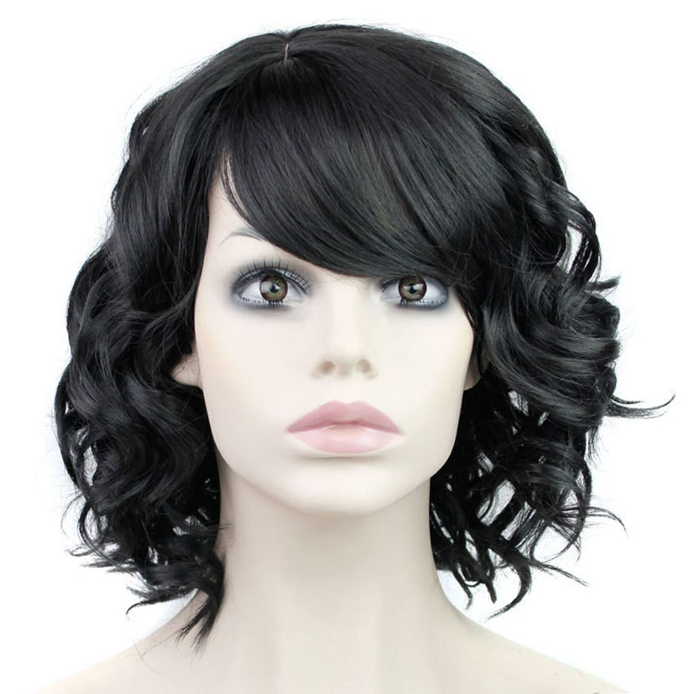 BERON Short Curly Wigs Fashion Wavy Bob Wigs with Side Bangs Short Full Synthetic Wigs for Black Women (Black) by BERON (Image #2)