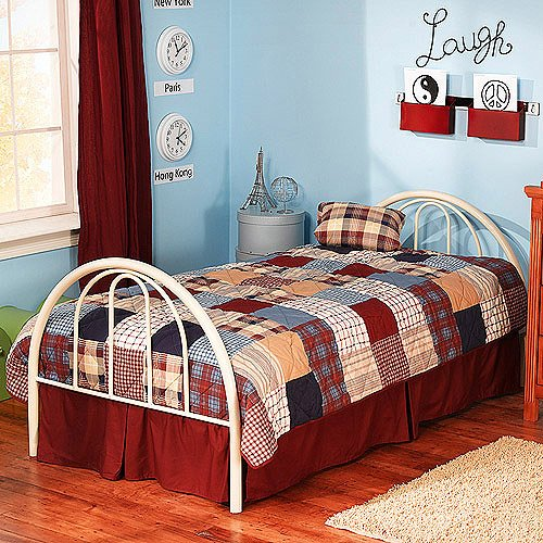 Contemporary Metal White Twin Bed, Headboard, Footboard, Bedding, Full Slat Mattress Support, Steel Construction, Kid's Room, Bundle with Our Expert Guide with Tips for Home Arrangement ()
