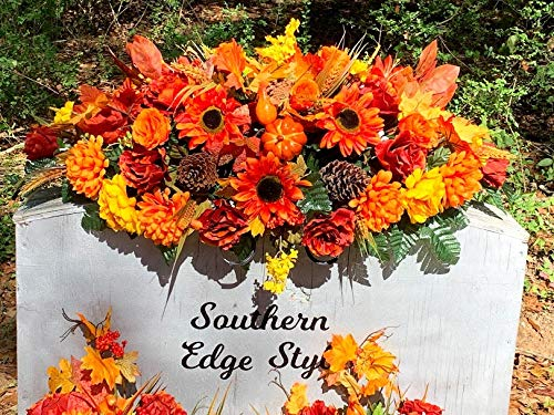 Large Autumn Headstone Saddle Flowers Cemetery Flowers Thanksgiving Grave Blanket