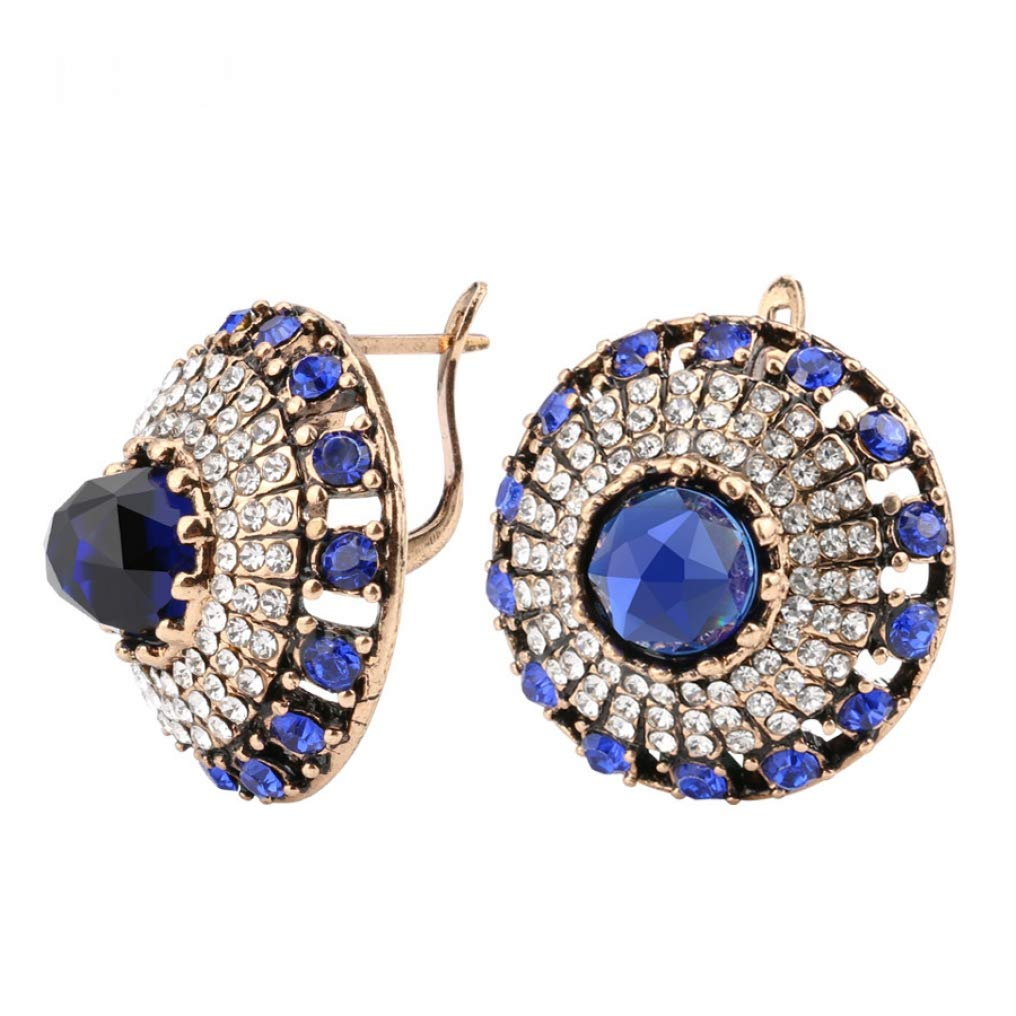 Women Luxury Natural Stone Earring Girls Vintage Crystal Antique Earrings Gold Color Party Christmas Gift Turkish Jewelry