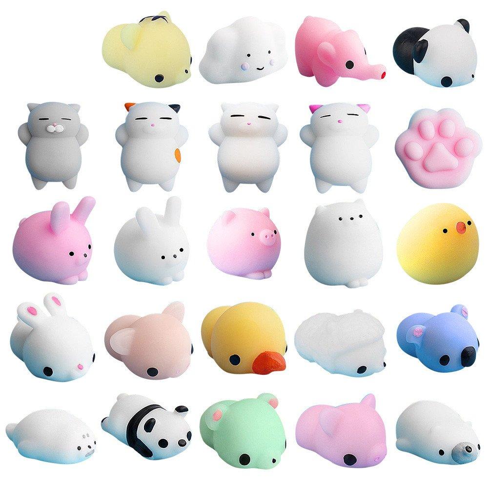 Insaneness Xmas Gift Baby Toys 25pc Cute Mochi Squishy Cat Squeeze Healing Fun Kids Kawaii Toy Stress Reliever (A) Elastic Environmentally PU