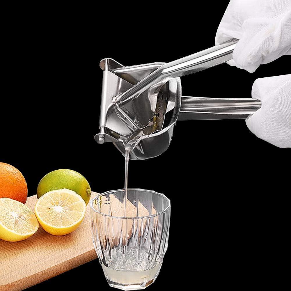 Stainless Steel Manual Fruit Juicer,Handheld Lemon Squeezer ,Hand Citrus Juicer With 2pcs Filter Bags,Prefect For Citrus,Lemon,Orange ,Lime ,Pomegranate (Stainless Steel)