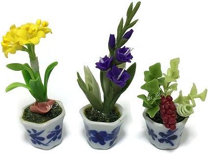 Purple Flower Thai Garland Dollhouse Miniature Handmade Clay