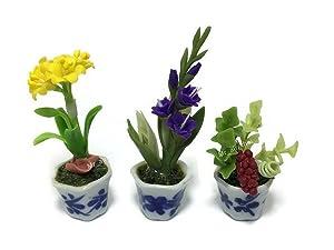 3pc Miniature Flower Clay Dollhouse Fairy Garden Mini Plant Trees Ceramic Paint Furniture Bundles Artificial Flowers Tiny Orchid #059