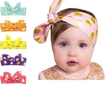 Cute Baby Girls Turban Headband Cotton Cloth Hair Wraps Rabbit Knot Polka  Dot Hairbands Elastic Headband 4d1499d2312d