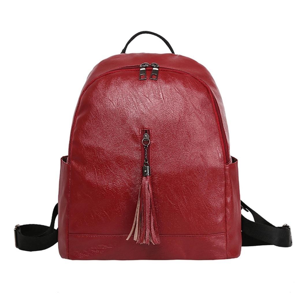 Zaino Casual Moda da Donna,Sonnena Zaino In pelle con Frange alla Moda da Donna Schoolbag Zaino In pelle da Donna Borsa da Viaggio di Moda Borsa a Tracolla  Rosso