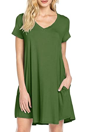 cb914149c Jouica Womens Swing Short Sleeves Loose Comfy Flattering Dress (Army Green S )