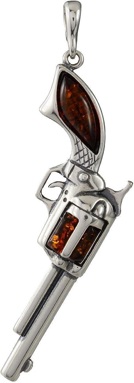 HolidayGiftShops Colgante de revólver de Pistola de Pistola de Plata esterlina y ámbar báltico