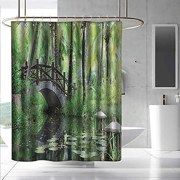Amazon.com: Zen Garden Small Shower Curtain Green Landscape ... on green bathroom design, green bathroom sink, green ocean bathroom, green home bathroom, green spa bathroom, green modern bathroom, green orange bathroom, green white bathroom, green stone bathroom, green garden bathroom, green zebra bathroom,
