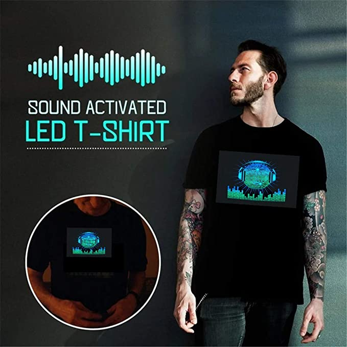 Camiseta Hombre Verano Manga Corta Color sólido Moda Party Disco DJ Sound Activated LED Light Up y Down Flashing T-Shirt Slim Fit Casual T-Shirt Camisas Originales Cuello Redondo Suave Camiseta vpass: Amazon.es: