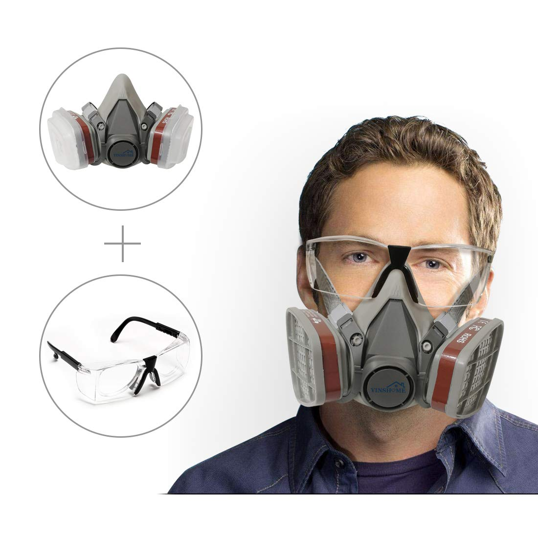 Yinshome Respirator Mask(Plus Safety Glasses)-Gas Mask with Dual Filter Cartridges for Breathing Eye Protection Against Dust,Organic Vapors, Chemicals-Paint Respirator for DIY projects by YinsHome
