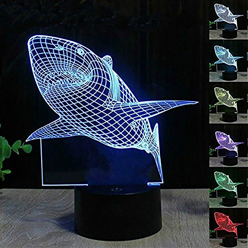 Shark Light, YKL WORLD 3D Illusion Table Lamp, Cool Shark Night Light for Kids and Adults, 7 Colors Changing USB Powered Touch Desk Beside Lamp Bedroom Decoration Mood Lighting Toys (Bright Eyes Shark)