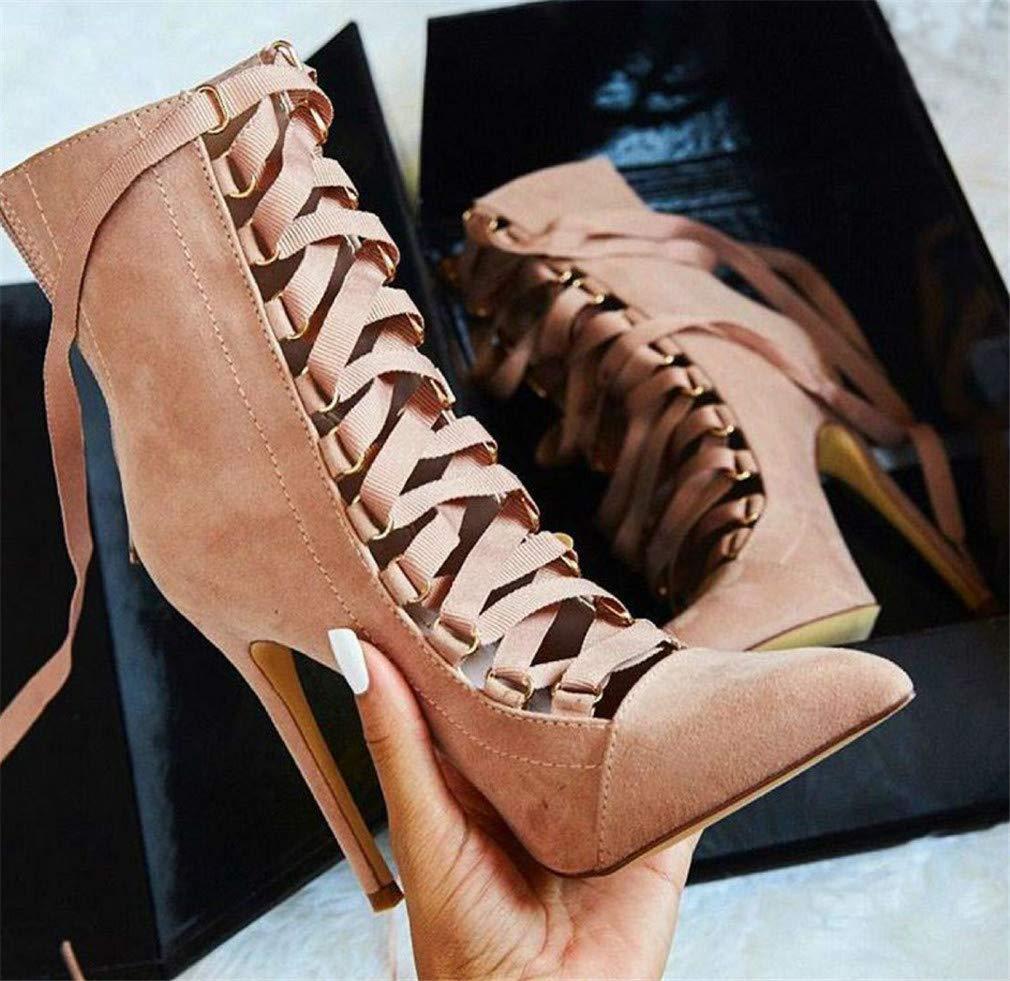 ELEGENCE-Z High Heels, Europa Europa Europa und Amerika schwarz Einfache Kreuz Spitze aus hochwertigem Wildleder Spitzen Ferse Party Schuhe für Damen ec6e6b