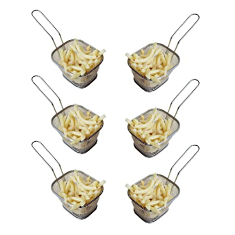 HUAJIAN Fry Basket 6 pcs Mini Cuadrado Acero Inoxidable Freír Cesta Presente y Alimentos fritos,