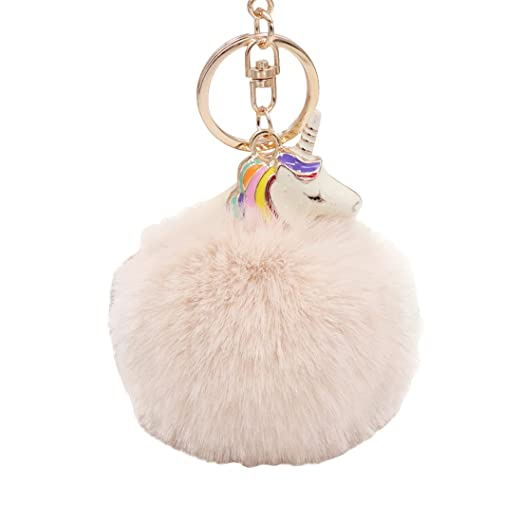 06a089f10d Winzik Unicorn Keychain Soft Fluffy Faux Fur Pompom Key Ring Bag Backpacks Hanging  Pendant for Women