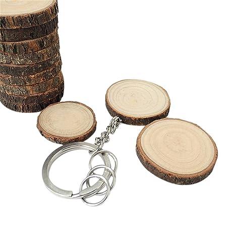 oyfel Metal llavero Trousseau port llave – Astillas de madera DIY coche recuerdo regalo colgante accesorios