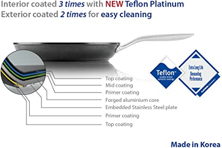 TECHEF – Onyx Collection, 12-Inch Frying Pan, coated with New Teflon Platinum Non-Stick Coating PFOA Free 12-inch