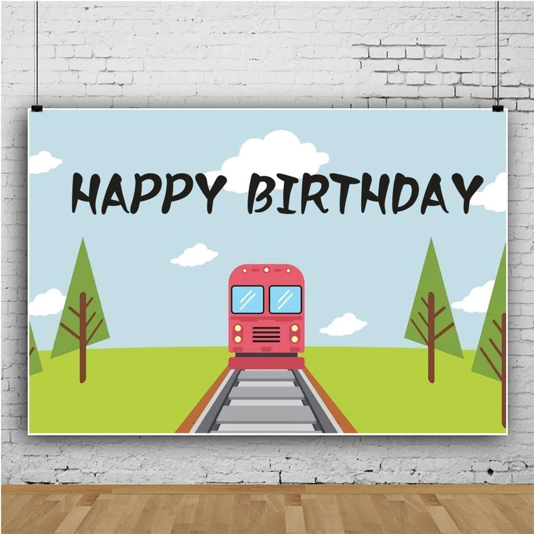 Yeele Cartoon Train Party Backdrop 10x8ft Birthday Decoration Photography Backdrop Dessert Table Kids Adults Artistic Portrait Kids Acting Show Photo Booth Photoshoot Props Wallpaper