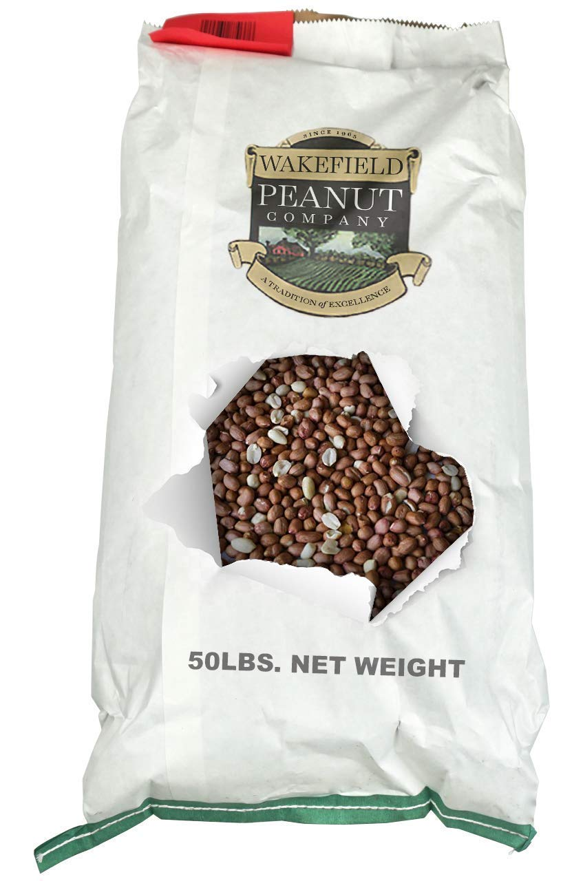 Wakefield Peanut Co Virginia Peanuts Bulk 50LB Bag Shelled Animal Peanuts for Squirrels, Birds, Deer, Pigs and a Wide Variety of Wildlife, Raw Peanuts / Bulk Nuts / Blue Jays / Cardinals / Woodpeckers