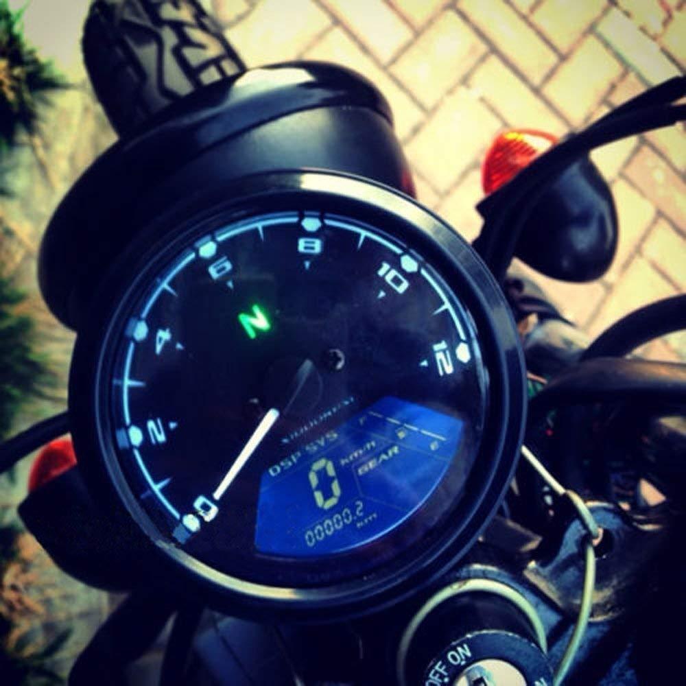 199KMH 12000RPM 12V For 4 stroke 1//2//4 Cylinders Universal Motorcycle Digital Gauge Speedometer Tachometer LCD Display Odometer 124MPH