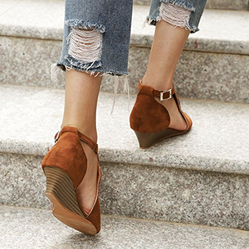 Women Suede Toe Dark Wedge Out Platform Shoes Sandals Brown Ankle Strap Peep ThusFar Espadrille Cut 4vPAOSd4q