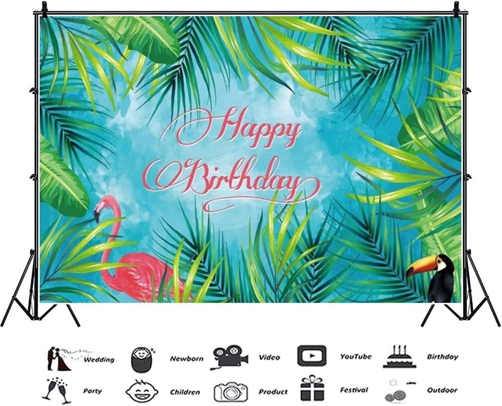 GoEoo 10x7ft Happy Birthday Vinyl Photography Background Cartoon Tropical Leaves Flamingo Woodpecker Backdrop Child Baby Adult Birthday Party Banner Indoor Decors Wallpaper Studio