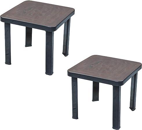 Résol Andorre plastique jardin café Side Table - Gris - 47 x ...