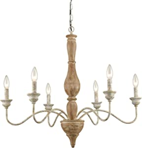 Farmhouse French Country Wood Chandeliers with Hanging Chain Candle Style Pendant Lights