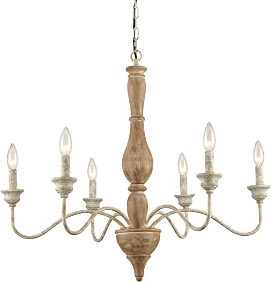 Farmhouse French Country Wood Chandelier
