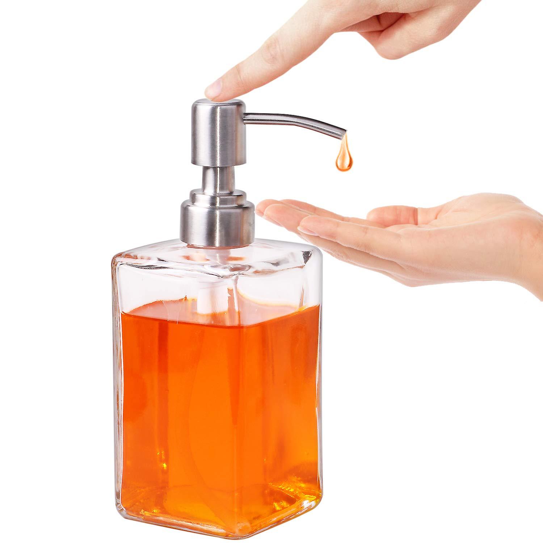300 ml Hanamichi Dispensador de jab/ón -Incluye un algod/ón de Pulpa de Madera Rosa Dispensador de loci/ón y jab/ón de Botella Cuadrada de Vidrio Transparente con Bombas de Acero Inoxidable 10.5 Oz
