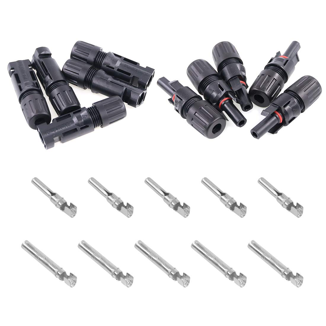 M//5F and F//5M Glarks MC4 Solar Panel Connectors 1 Male to 5 Female and 1 Female to 5 Male T Branch Connectors Cable Coupler Combiner and 5 Pair MC4 Male//Female Solar Panel Cable Connectors Set